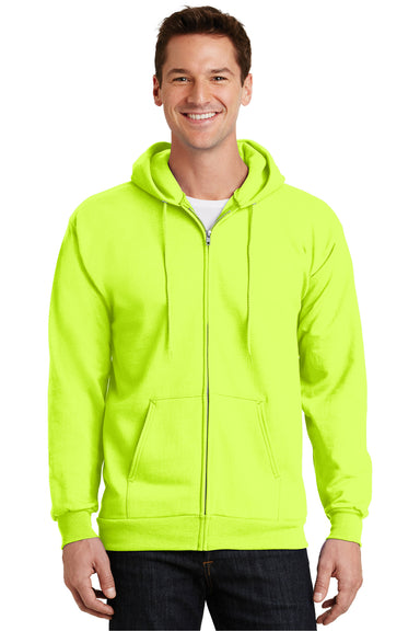 Port & Company PC90ZH Mens Essential Fleece Full Zip Hooded Sweatshirt Hoodie Safety Green Front