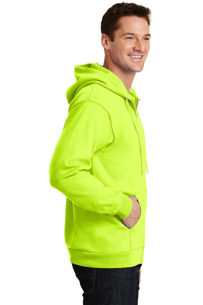 Port & Company PC90ZH Mens Essential Fleece Full Zip Hooded Sweatshirt Hoodie Safety Green Side