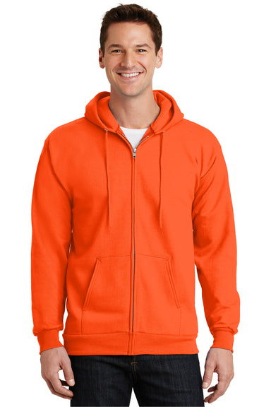 Port & Company PC90ZH Mens Essential Fleece Full Zip Hooded Sweatshirt Hoodie Safety Orange Front