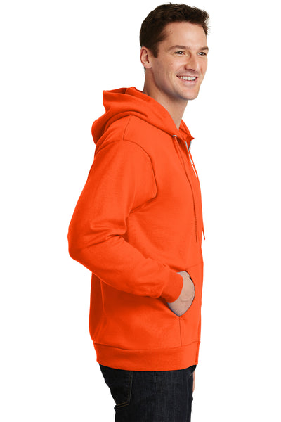 Port & Company PC90ZH Mens Essential Fleece Full Zip Hooded Sweatshirt Hoodie Safety Orange Side