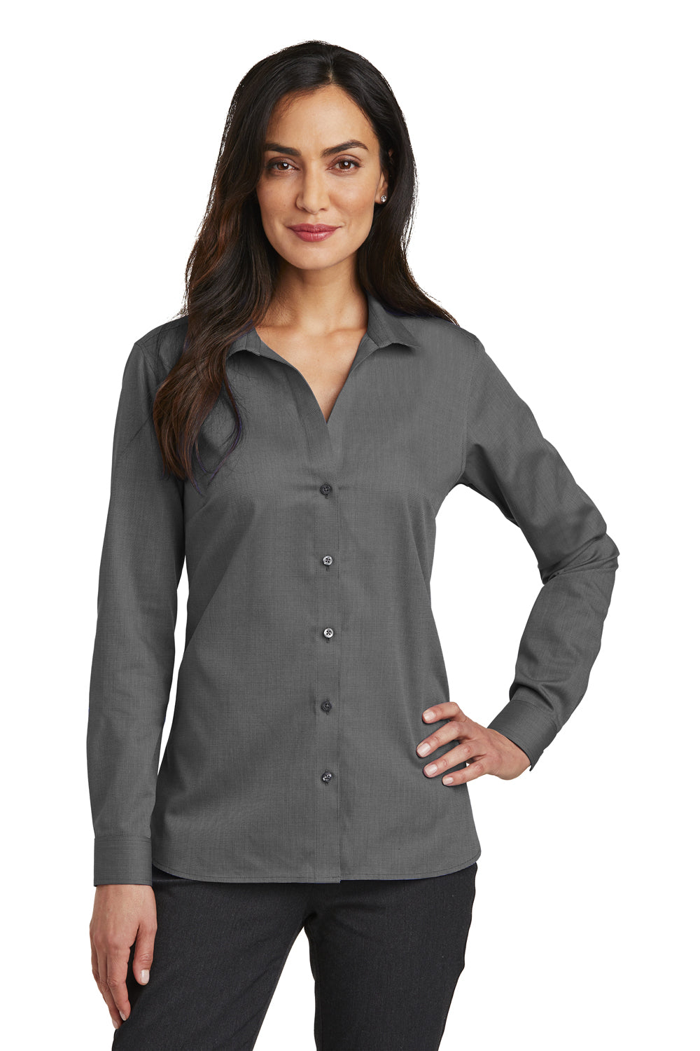Red House RH470 Womens Nailhead Wrinkle Resistant Long Sleeve Button Down Shirt Black Front
