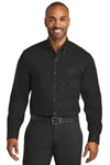 Red House RH78 Mens Wrinkle Resistant Long Sleeve Button Down Shirt w/ Pocket Black Front