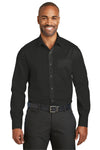 Red House RH80 Mens Wrinkle Resistant Long Sleeve Button Down Shirt w/ Pocket Black Front