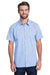 Artisan Collection RP221 Mens Microcheck Gingham Short Sleeve Button Down Shirt Light Blue/White Front