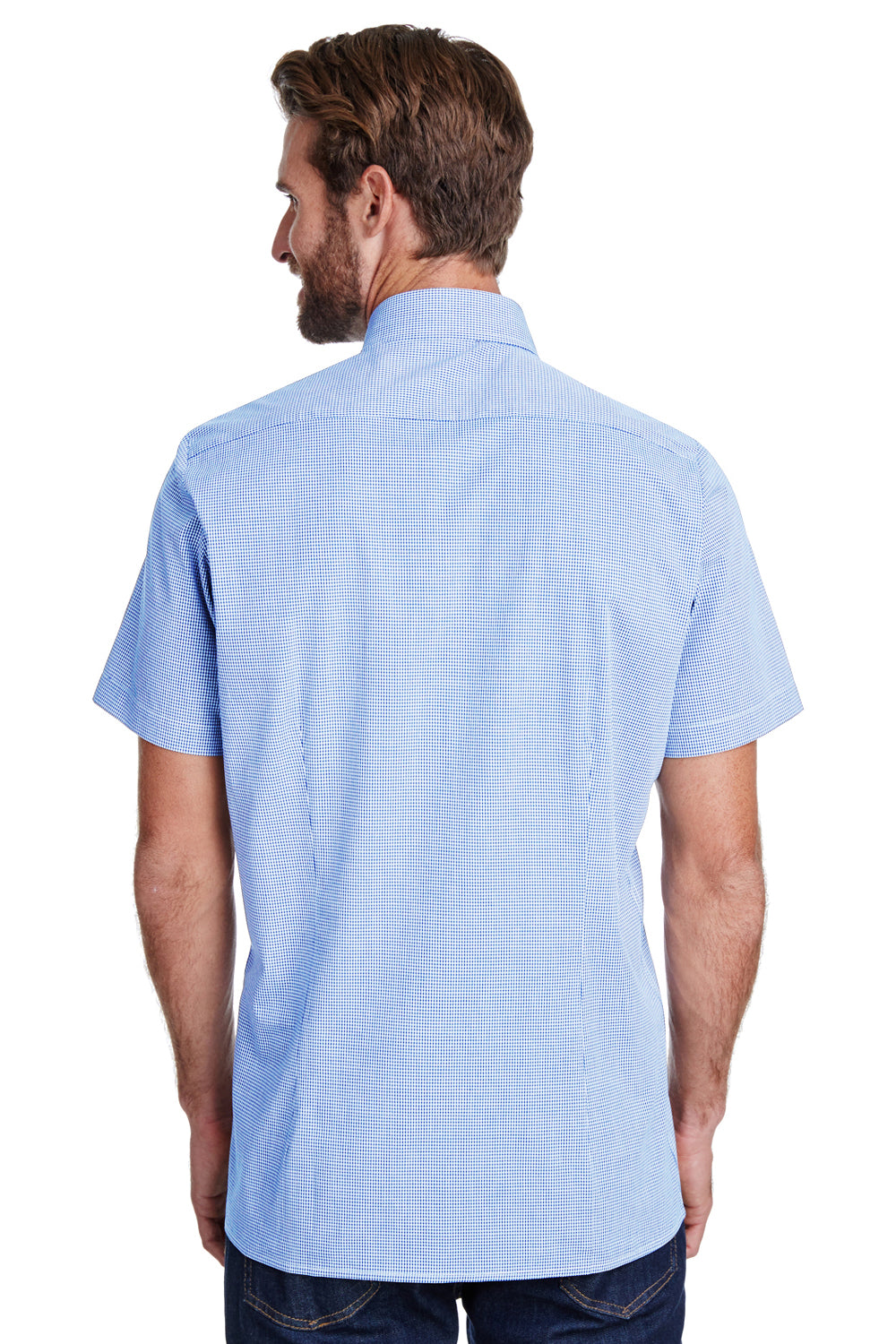 Artisan Collection RP221 Mens Microcheck Gingham Short Sleeve Button Down Shirt Light Blue/White Back