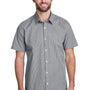 Artisan Collection Mens Microcheck Gingham Short Sleeve Button Down Shirt - Black/White