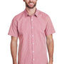 Artisan Collection Mens Red/White Microcheck Gingham Short Sleeve Button Down Shirt