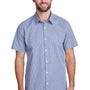 Artisan Collection Mens Navy Blue/White Microcheck Gingham Short Sleeve Button Down Shirt