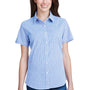 Artisan Collection Womens Light Blue/White Microcheck Gingham Short Sleeve Button Down Shirt