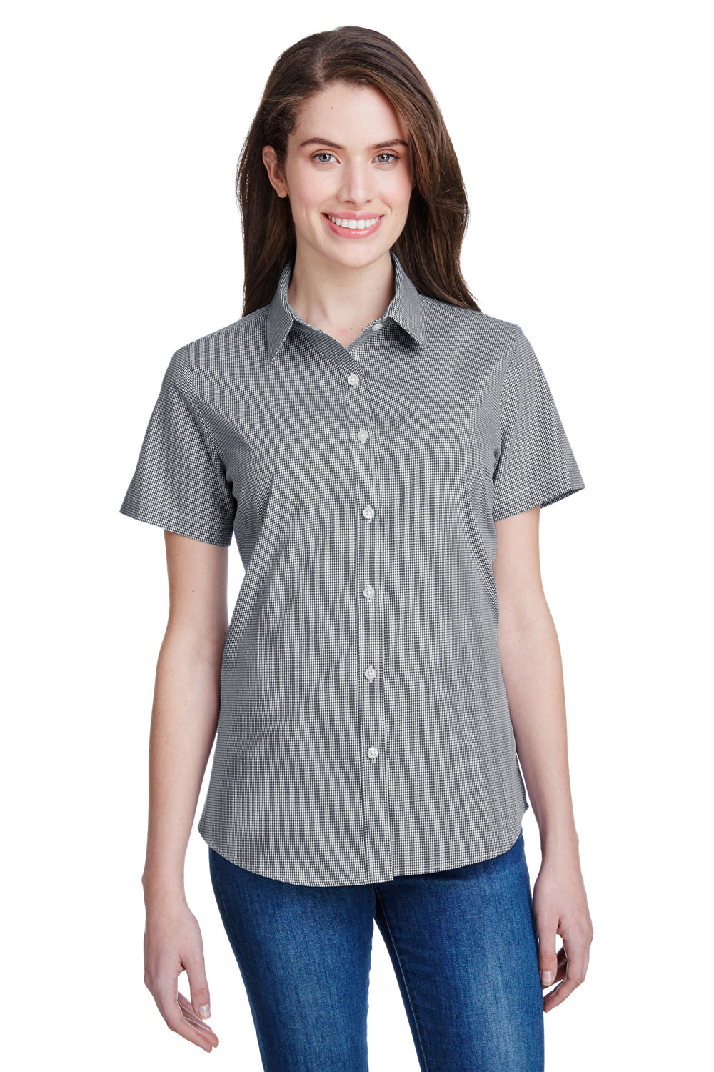 Artisan Collection RP321 Womens Microcheck Gingham Short Sleeve Button Down Shirt Black/White Front