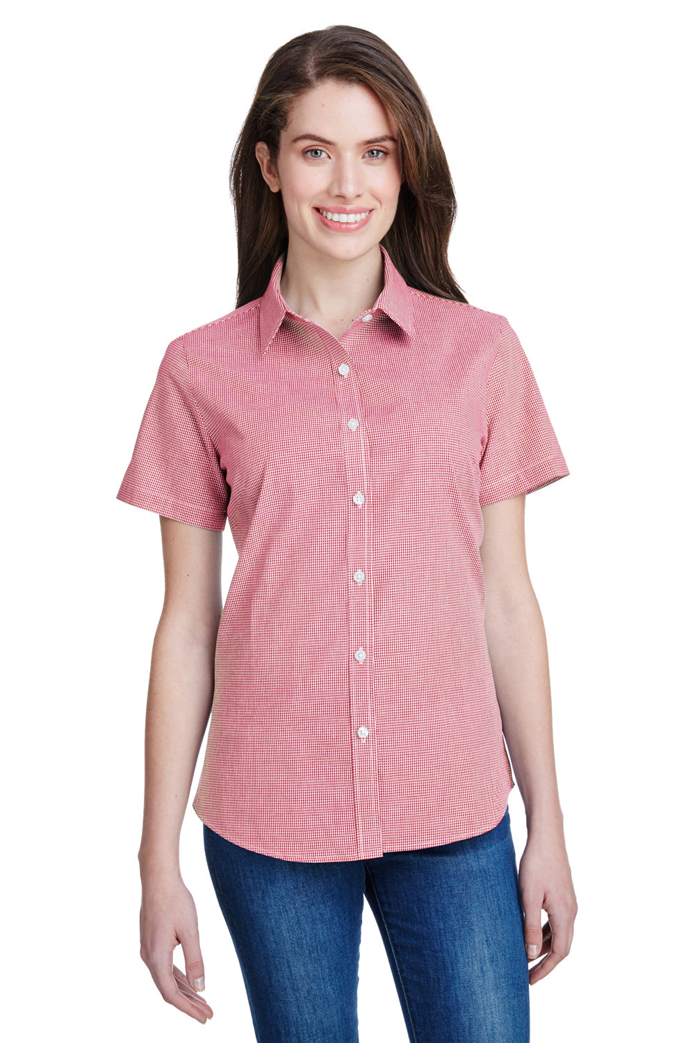 Artisan Collection RP321 Womens Microcheck Gingham Short Sleeve Button Down Shirt Red/White Front