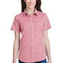 Artisan Collection Womens Red/White Microcheck Gingham Short Sleeve Button Down Shirt