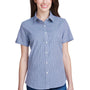 Artisan Collection Womens Navy Blue/White Microcheck Gingham Short Sleeve Button Down Shirt