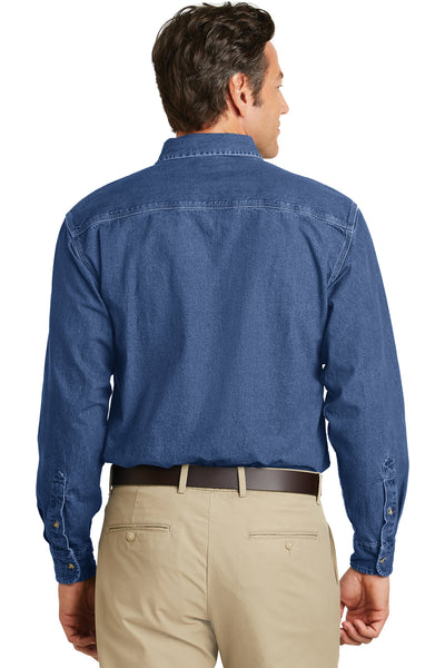 Port Authority S100 Mens Denim Long Sleeve Button Down Shirt w/ Pocket Blue Back