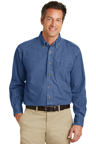 Port Authority S100 Mens Denim Long Sleeve Button Down Shirt w/ Pocket Blue Front
