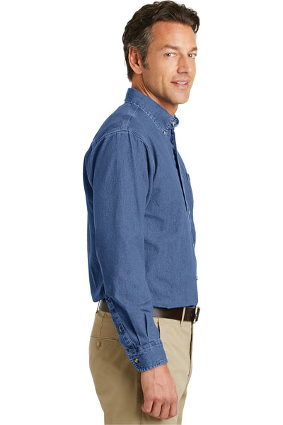 Port Authority S100 Mens Denim Long Sleeve Button Down Shirt w/ Pocket Blue Side