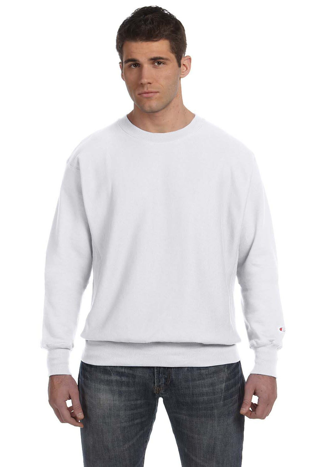 Champion S1049 Mens Crewneck Sweatshirt Silver Grey Front