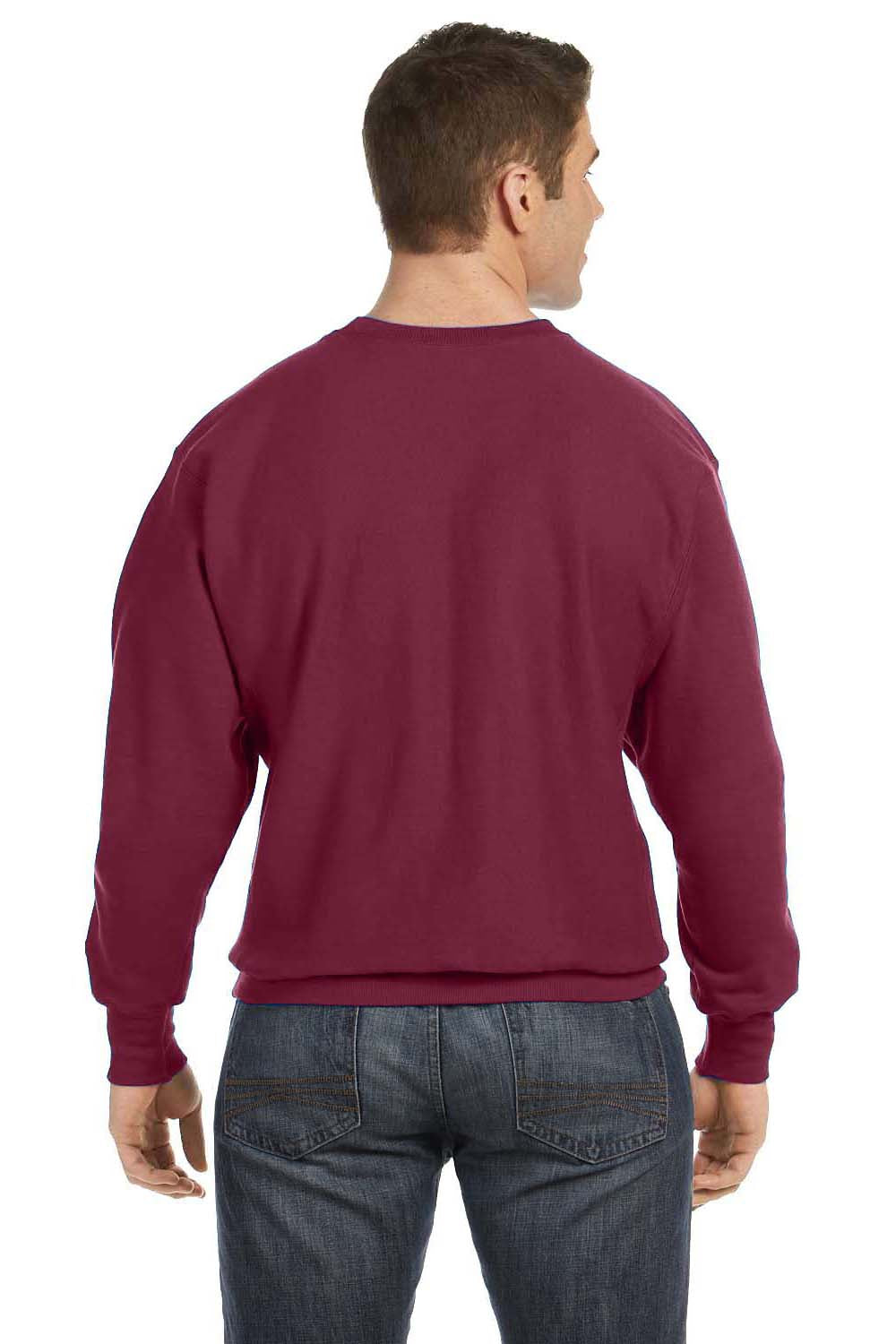 Champion S1049 Mens Crewneck Sweatshirt Maroon Back