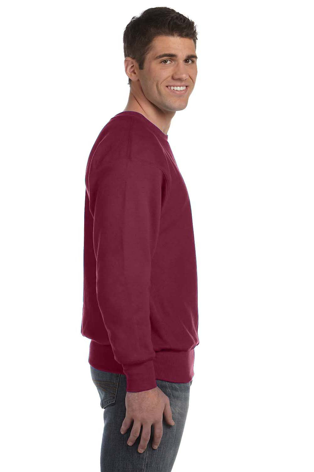Champion S1049 Mens Crewneck Sweatshirt Maroon Side
