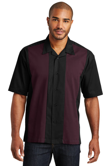 Port Authority S300 Mens Retro Easy Care Wrinkle Resistant Short Sleeve Button Down Camp Shirt Black/Burgundy Front