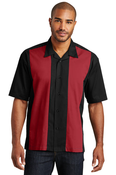 Port Authority S300 Mens Retro Easy Care Wrinkle Resistant Short Sleeve Button Down Camp Shirt Black/Red Front