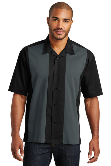Port Authority S300 Mens Retro Easy Care Wrinkle Resistant Short Sleeve Button Down Camp Shirt Black/Steel Grey Front