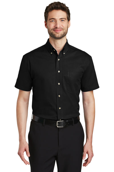 Port Authority S500T Mens Short Sleeve Button Down Shirt w/ Pocket Black Front