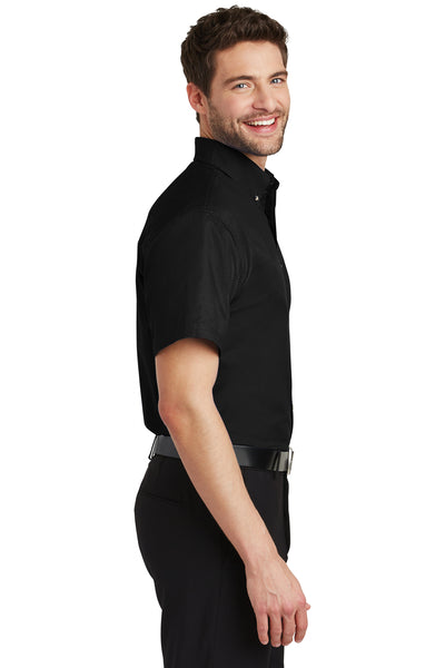 Port Authority S500T Mens Short Sleeve Button Down Shirt w/ Pocket Black Side