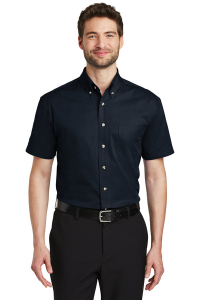 Port Authority S500T Mens Short Sleeve Button Down Shirt w/ Pocket Navy Blue Front