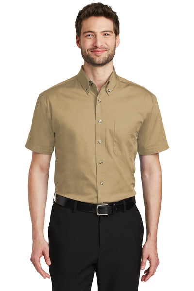Port Authority S500T Mens Short Sleeve Button Down Shirt w/ Pocket Khaki Brown Front