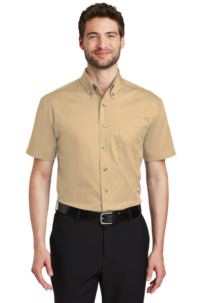 Port Authority S500T Mens Short Sleeve Button Down Shirt w/ Pocket Stone Brown Front