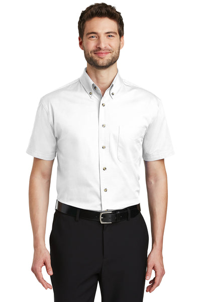 Port Authority S500T Mens Short Sleeve Button Down Shirt w/ Pocket White Front