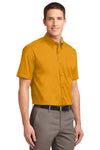 Port Authority S508 Mens Easy Care Wrinkle Resistant Short Sleeve Button Down Shirt w/ Pocket Gold Back