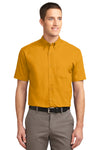 Port Authority S508 Mens Easy Care Wrinkle Resistant Short Sleeve Button Down Shirt w/ Pocket Gold Front