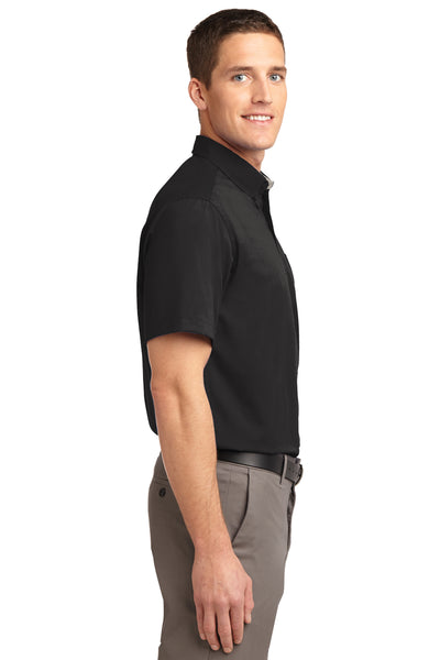 Port Authority S508 Mens Easy Care Wrinkle Resistant Short Sleeve Button Down Shirt w/ Pocket Black Side