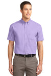 Port Authority S508 Mens Easy Care Wrinkle Resistant Short Sleeve Button Down Shirt w/ Pocket Lavender Purple Front
