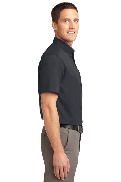 Port Authority S508 Mens Easy Care Wrinkle Resistant Short Sleeve Button Down Shirt w/ Pocket Classic Navy Blue Side