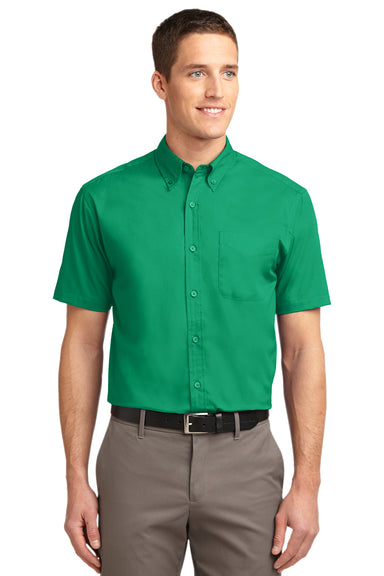 Port Authority S508 Mens Easy Care Wrinkle Resistant Short Sleeve Button Down Shirt w/ Pocket Court Green Front