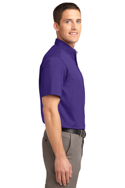 Port Authority S508 Mens Easy Care Wrinkle Resistant Short Sleeve Button Down Shirt w/ Pocket Purple Side