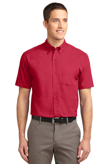 Port Authority S508 Mens Easy Care Wrinkle Resistant Short Sleeve Button Down Shirt w/ Pocket Red Front