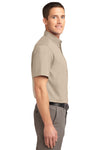 Port Authority S508 Mens Easy Care Wrinkle Resistant Short Sleeve Button Down Shirt w/ Pocket Stone Brown Side