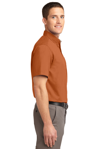 Port Authority S508 Mens Easy Care Wrinkle Resistant Short Sleeve Button Down Shirt w/ Pocket Texas Orange Side