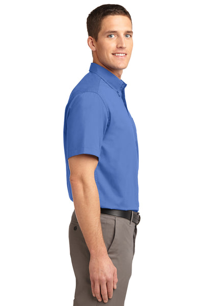 Port Authority S508 Mens Easy Care Wrinkle Resistant Short Sleeve Button Down Shirt w/ Pocket Ultramarine Blue Side