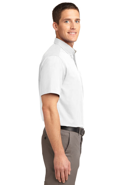 Port Authority S508 Mens Easy Care Wrinkle Resistant Short Sleeve Button Down Shirt w/ Pocket White Side