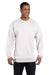 Champion S600 Mens Double Dry Eco Moisture Wicking Fleece Crewneck Sweatshirt White Front