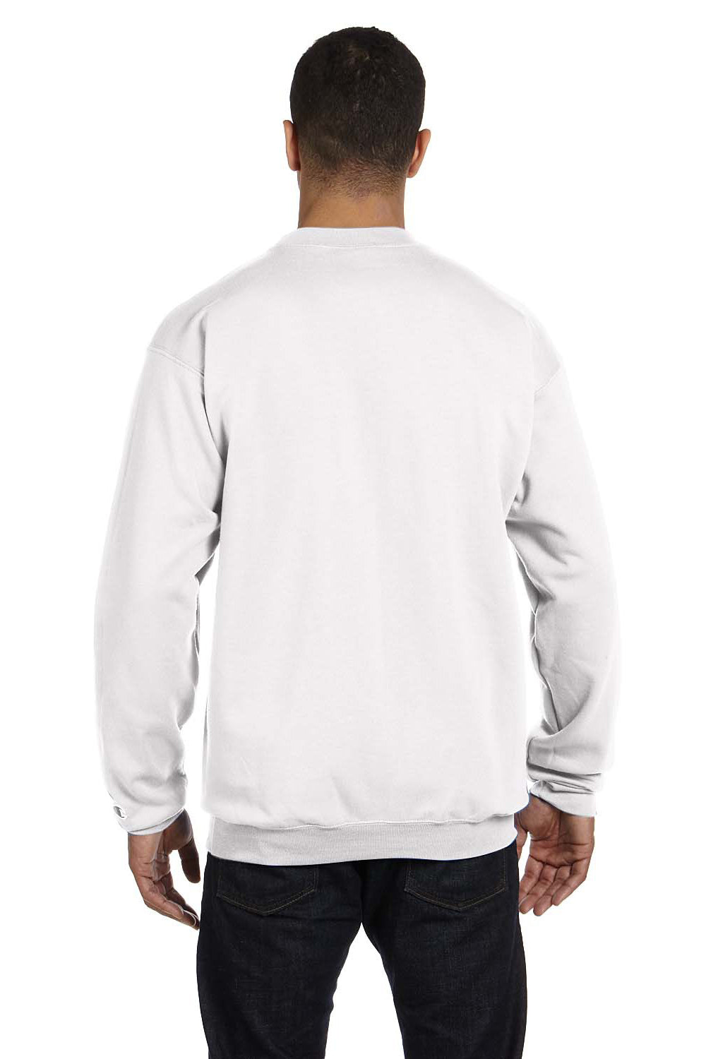 Champion S600 Mens Double Dry Eco Moisture Wicking Fleece Crewneck Sweatshirt White Back