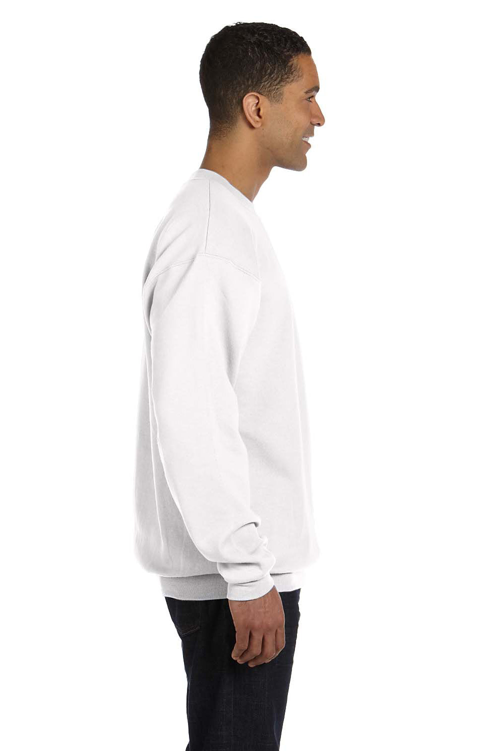 Champion S600 Mens Double Dry Eco Moisture Wicking Fleece Crewneck Sweatshirt White Side