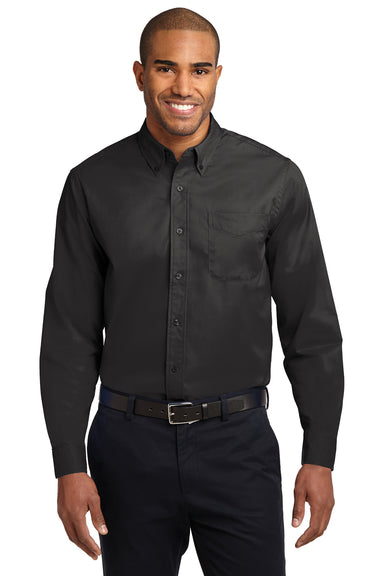 Port Authority S608 Mens Easy Care Wrinkle Resistant Long Sleeve Button Down Shirt w/ Pocket Black Front