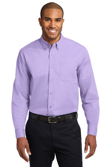 Port Authority S608 Mens Easy Care Wrinkle Resistant Long Sleeve Button Down Shirt w/ Pocket Lavender Purple Front