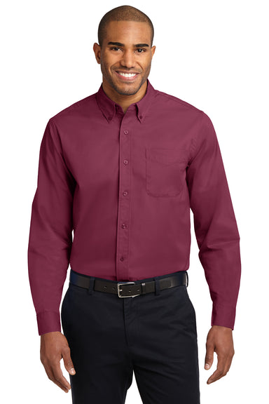Port Authority S608 Mens Easy Care Wrinkle Resistant Long Sleeve Button Down Shirt w/ Pocket Burgundy Front